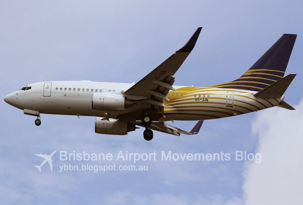 brisbane airport movements  royal jet 737bbj a6