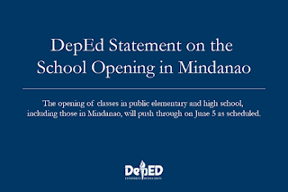 News: DepED Statement on the School Opening in Mindanao