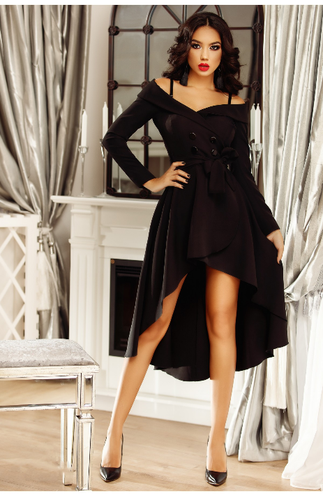 Rochie eleganta de seara, scurta in fata si lunga in spate, cu volanase elegante, manecile lungi, design deosebit tip sacou cu nasturi, umeri lasati