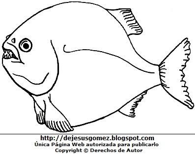 Ilustración del pez piraña para colorear, pintar o imprimir. Dibujo de un pez de Jesus Gómez
