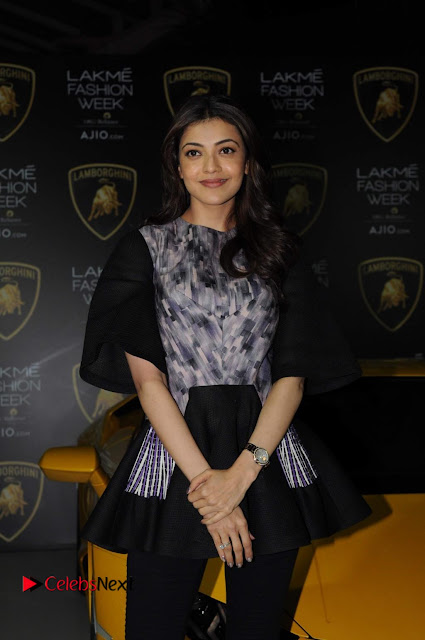 Actress Kajal Aggarwal Stills in Black Dress at Lakme Fashion Week Summer Resort 2017  0001.jpg