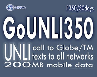 Globe GOUNLI350 – 30 days Unlimited Call and Text to All Networks