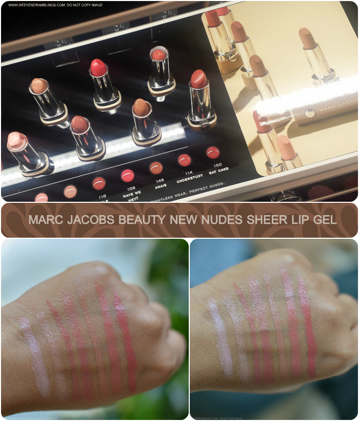 Marc Jacobs New Nudes Sheer Lip Gel Neutral Lipsticks - Swatches