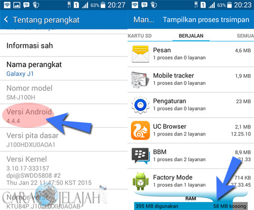 Mengecek versi dan performa Android untuk mempercepat proses loading aplikasi BBM