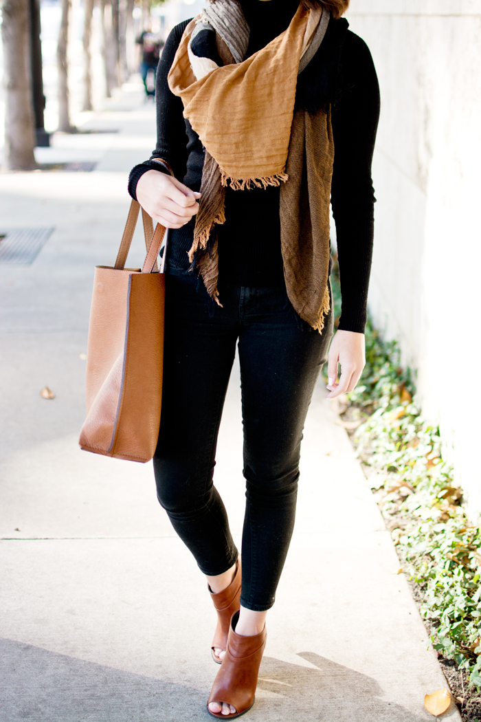 Black fall outfit, black turtleneck blanket scarf brown tote bag
