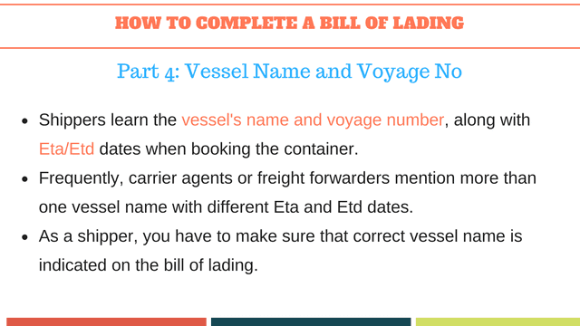 How to complete a bill of lading | Vessel Name