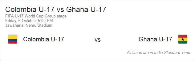 Colombia U17 vs Ghana U17 first match Fifa 2017