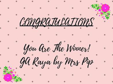 Pengumuman! Pemenang Giveaway Raya by Mrs Pip