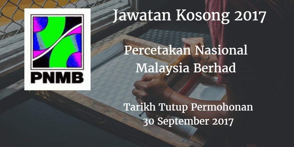 Jawatan Kosong PNMB 30 September 2017