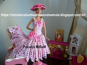 Vestido de Pontas em Crochê Com Chapéu e Bolsa Para Barbie e Bonecas Similares