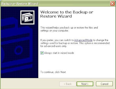 Backup Data Komputer Windows XP Dengan Wizard