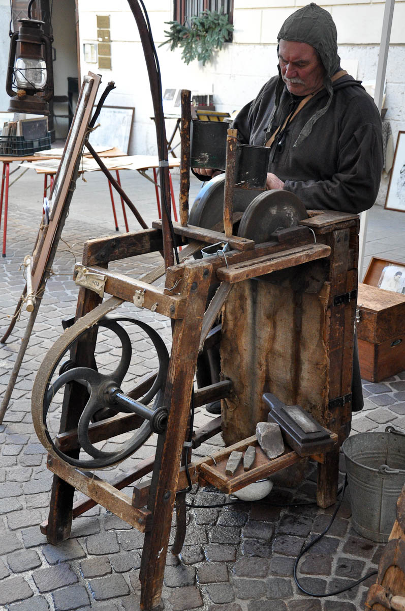 Knife-grinder, Old crafts festival, Corso Fogazzaro, Vicenza, Veneto, Italy