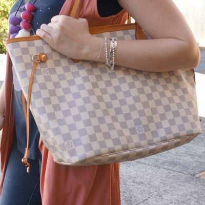 pink vest, Louis Vuitton MM damier azur neverfull | Away From The Blue