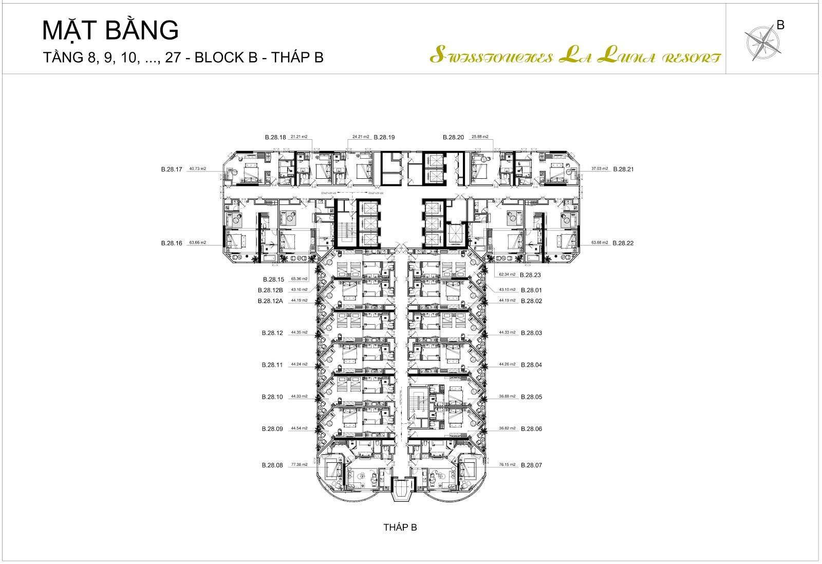 Mặt bằng thiết kế căn hộ tầng 8 - 34 của Swisstouches La Luna