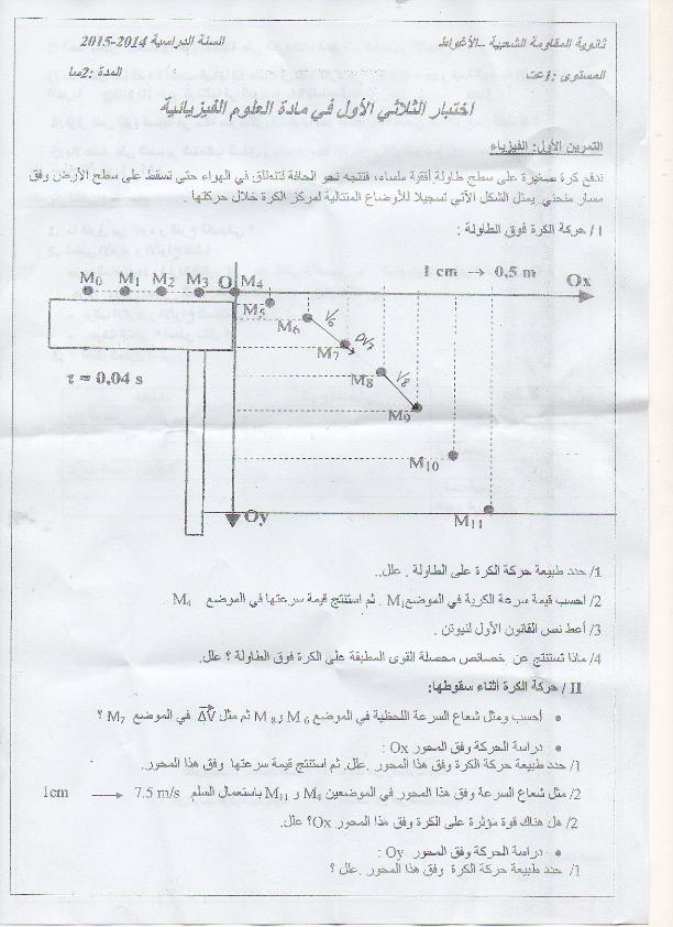 امتحان في مادة الفيزياء للسنة الأولى ثانوي الفصل الاول