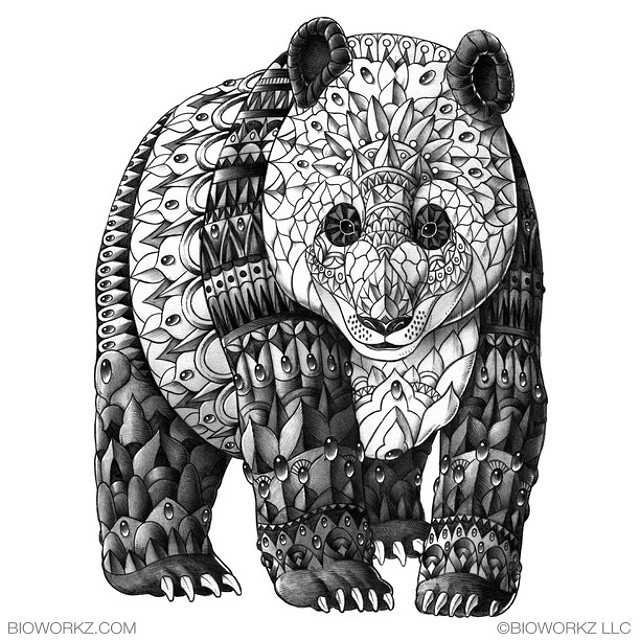 15-Panda-Print-Ben-Kwok-Ornate-and-Intricate-Animal-Drawings-www-designstack-co