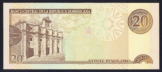 Dominican Republic currency 20 Pesos Oro banknote 2001 National Pantheon of the Dominican Republic