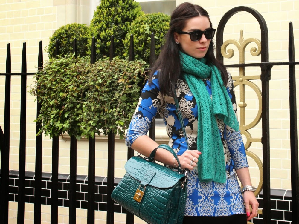 London fashion blogger Emma Louise Layla wearing blue print Primark dress outside the Langham Hotel, London