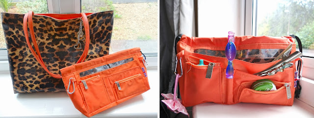 handbag2handbag 11 pocket organiser, reversable bag, orange bag