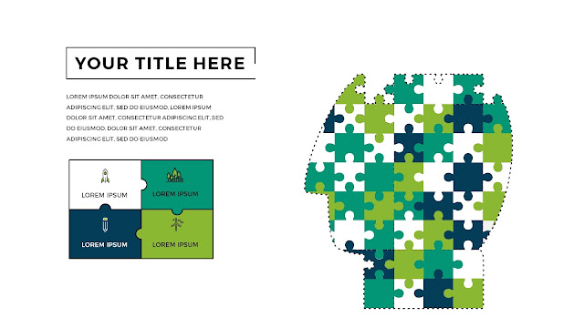 Free Infographic Puzzle Diagrams PowerPoint Template with Human Face
