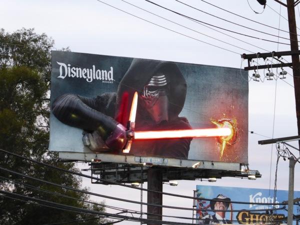 Special 3D Kylo Ren lightsaber Disneyland billboard
