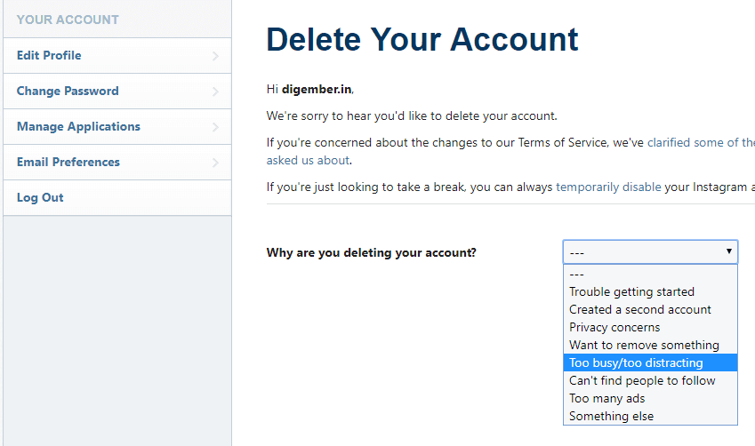Permanently Delete your Instagram Account