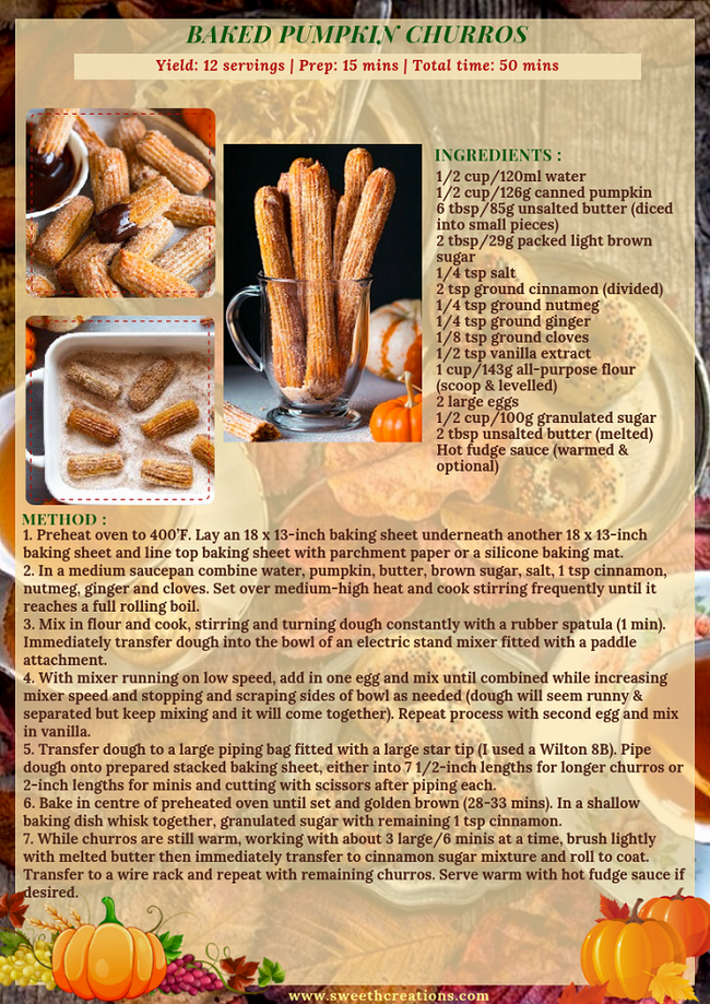 BAKED PUMPKIN CHURROS RECIPE