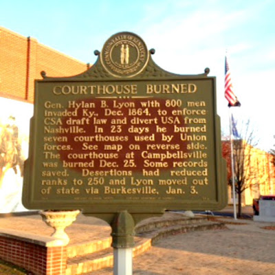 Courthouse Burned Historical Marker in Campbellsville Kentucky