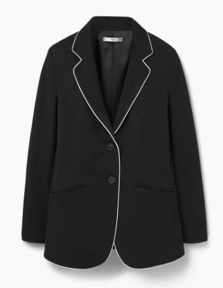 Blazer negro con ribetes blancos Mango -clon Saint Laurent SS 2016-