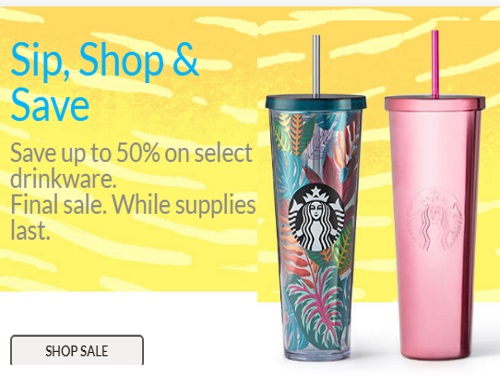 Starbucks End of Summer Up To 50% Off Drinkware Sale
