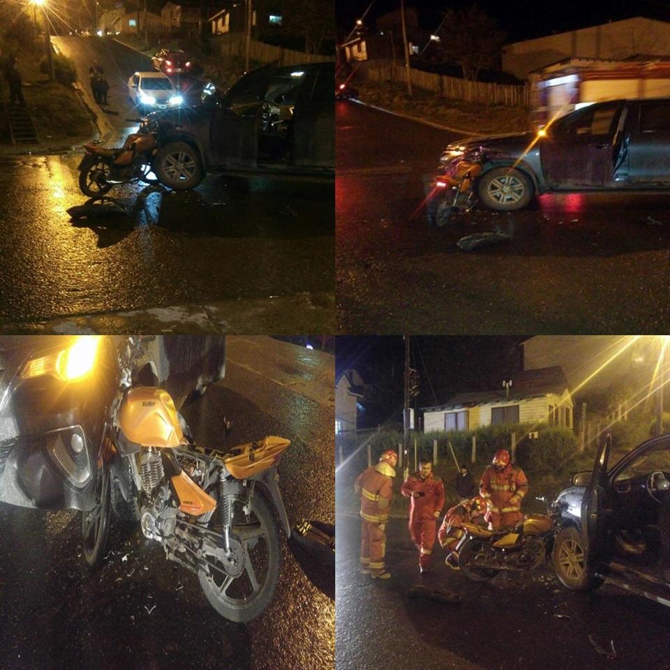 Choque con motociclista lesionado Ushuaia