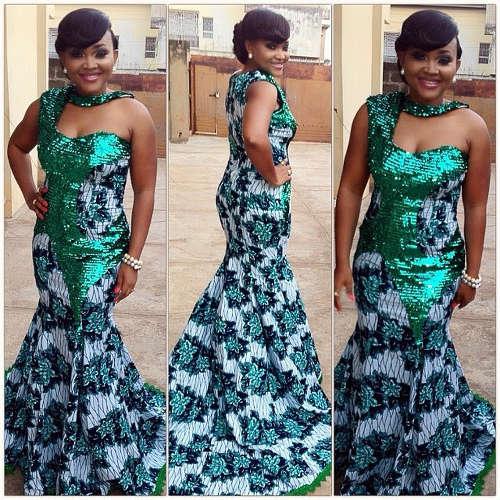 Mercy aigbe Ankara long gown styles