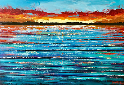 Colorful ocean sunset acrylic painting abstract impressionist