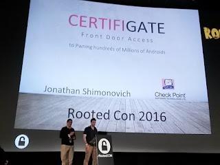 RootedCon 2016 - Jonathan Shimonovich y certificados para móviles: CERTIFIGATE