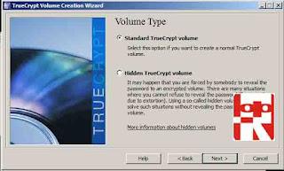 proses kedua membuat partisi menggunakan truecrypt