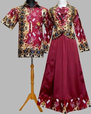 Model Gamis Batik Kombinasi Satin lengan panjang