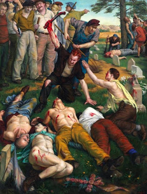 Is it foolish to think this painting of union workers killing strikebreakers expresses something about homosexuality?