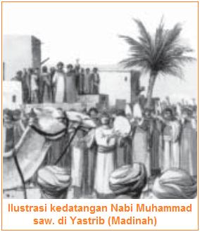 Islam Pada Masa Nabi Muhammad saw - Ilustrasi kedatangan Nabi Muhammad saw. di Yastrib (Madinah).