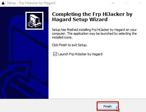 finalizar instalación programa frp hijacker