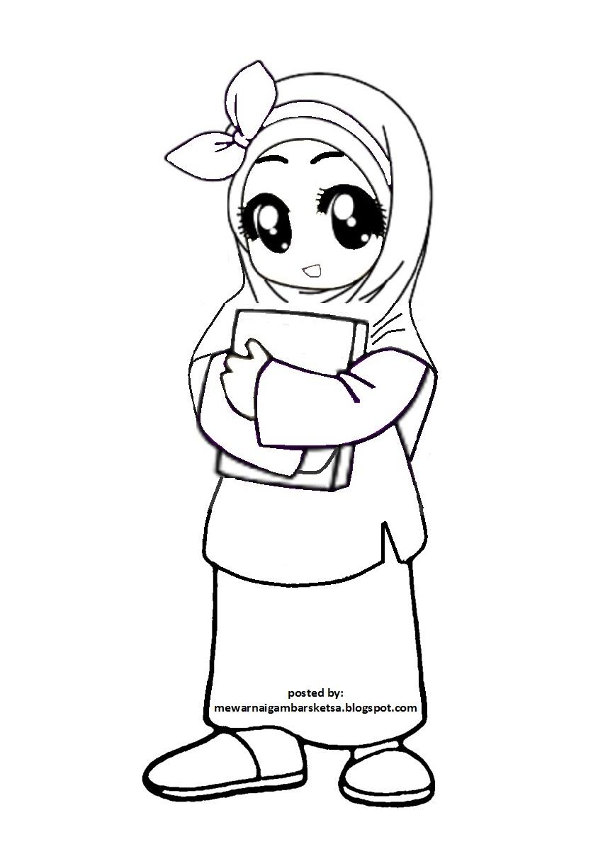 Sketsa Gambar Dokter Muslimah