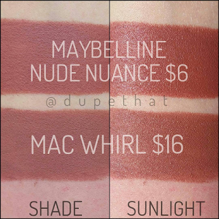 mac whirl dupe maybelline nude nuance