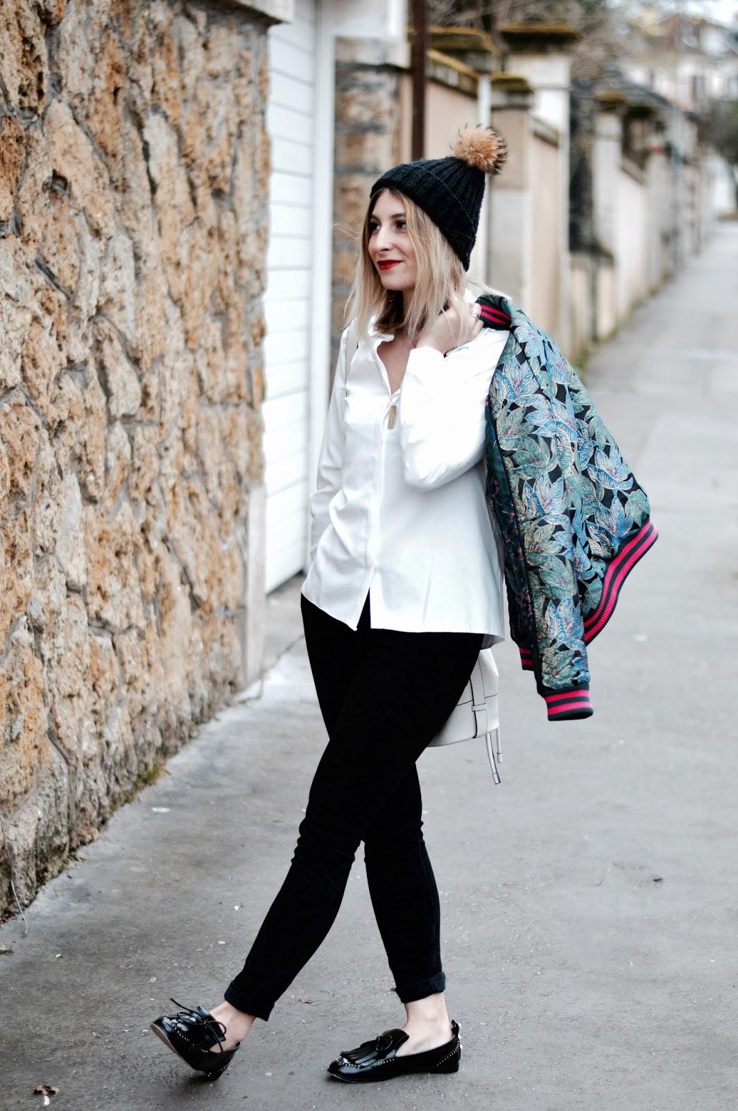 blog mode : look femme blouson bomber jacquard bleu