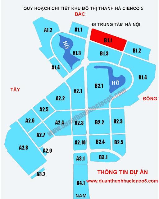 Sơ đồ khu B1.1 dự án Thanh Hà Cienco 5 Hà Đông Mường Thanh