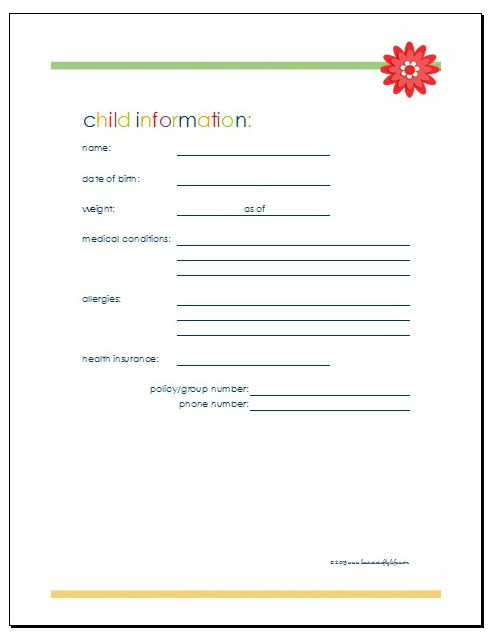 Home Management Binder Children and Family - Laura\u0027s Crafty Life - babysitting information sheets