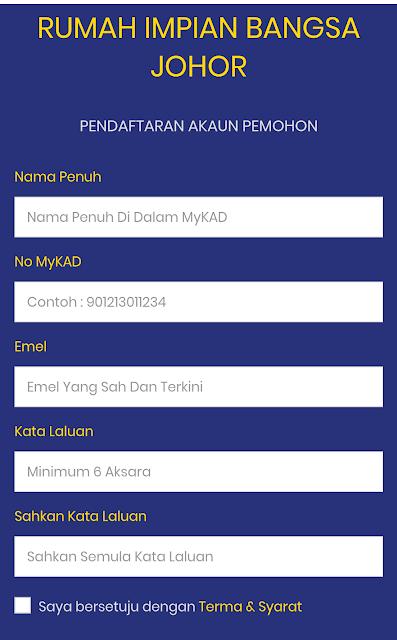 Panduan Sistem Permohonan Online Rumah Impian Bangsa Johor