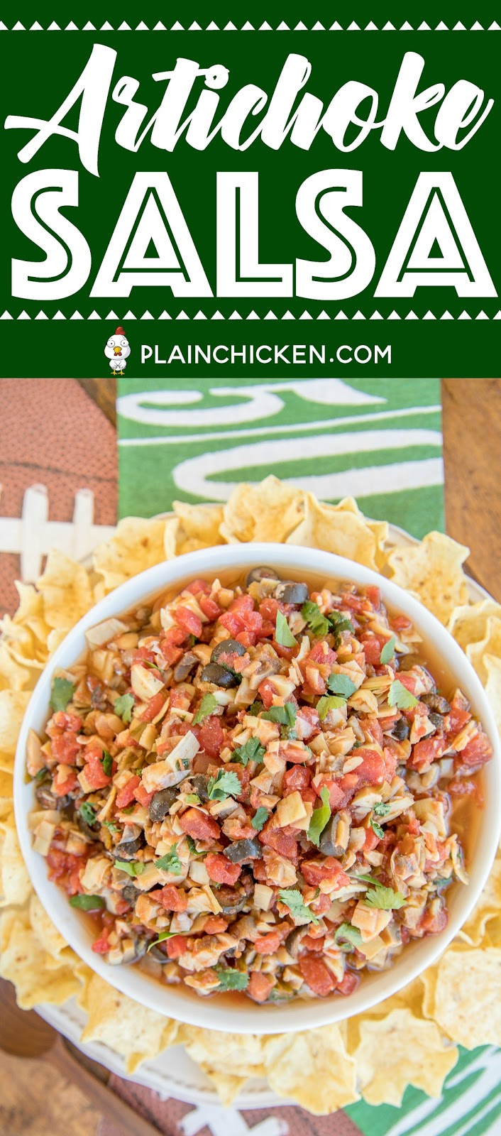 Artichoke Salsa - CRAZY good!! Artichokes, diced tomatoes and green chiles, mushrooms, black olives, red wine vinegar, cilantro, garlic slat and hot sauce. Serve with chips or spoon over grilled chicken. I took this to a dinner party and there were no leftovers! Everyone asked for the recipe!! A big hit! #salsa #veggies #dip #partyfood