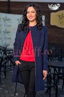 Palton dama elegant bleumarin (MBG)
