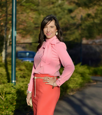 Spring Work Outfit Pink Bow Blouse