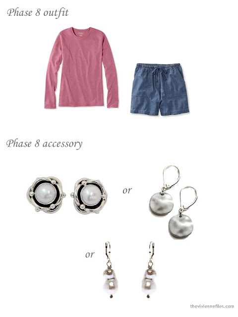 pink tee and denim shorts, with three possible pairs of silver earrings