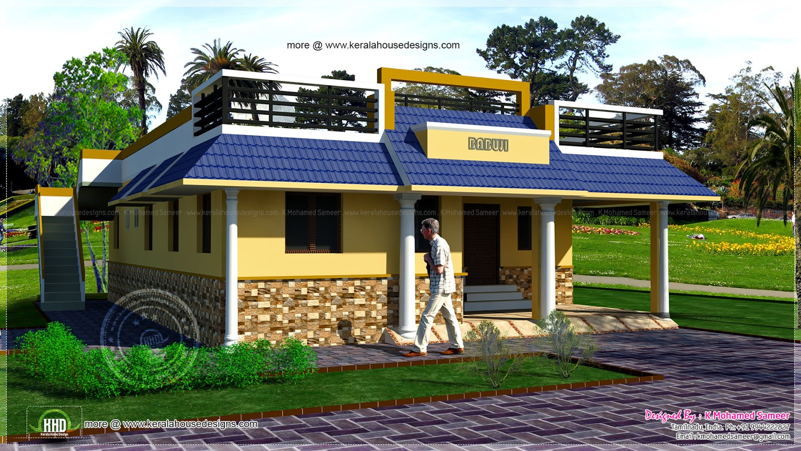 3 bedroom single floor house plan kerala home design and for Bedroom designs tamilnadu